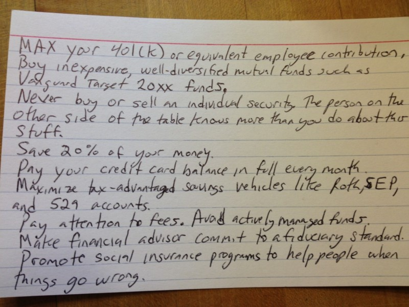 Finacial advice index card