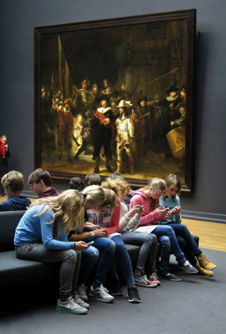 Texting in museum